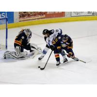 Max French of the Idaho Steelheads tries to get through the Colorado Eagles defense