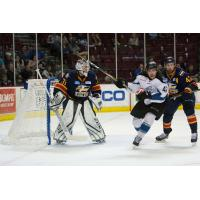 Connor Chatham of the Idaho Steelheads in front of the Colorado Eagles net