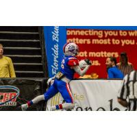 Florida Tarpons receiver Reggie Ellis makes a catch against the boards