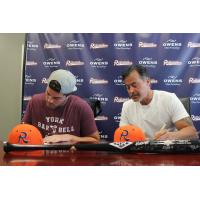 Rafael and Patrick Palmeiro sign with the Cleburne Railroaders