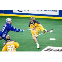 Bryan Cole of the Georgia Swarm test the Rochester Knighthawks' defense