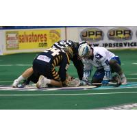 Joel Coyle of the Georgia Swarm faces off with Jake Withers of the Rochester Knighthawks