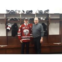 Zack Terry with Guelph Storm General Manager and Head Coach George Burnett