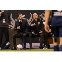 Indy Eleven head coach Martin Rennie and assistant Phillip Dos Santos