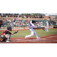 Matthew Dacey of the Lake Erie Crushers bats against the Normal CornBelters