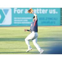 Alfredo Rodriguez of the Somerset Patriots chases a fly ball