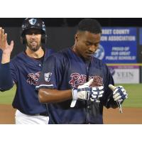 Justin Trapp and the Somerset Patriots celebrate a 12-inning win