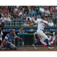 JC Rodriguez of the Rockland Boulders bats on Independence Day