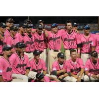 Medford Rogues team photo after the game on Paint the Park Pink Night