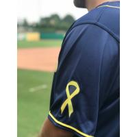 Northwest Arkansas Naturals' Cancer Charity 4 Life jersey sleeve