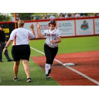 Gwen Svekis of the Chicago Bandits receives a high five while rounding the bases