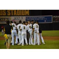 Sussex County Miners huddle after walk-off win