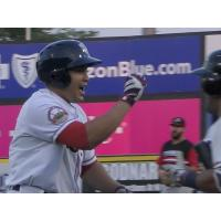 Ramon Flores of the Somerset Patriots reacts after his home run