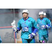 Rochester Knighthawks defenseman Frank Brown and forward Josh Currier