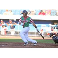 Pedro Severino of the Syracuse Chiefs in Christmas in July uniforms