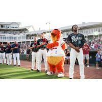 Frisco RoughRiders line up for the National Anthem