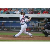 Tuffy Gosewisch of the Syracuse Chiefs reached twice and scored twice Saturday night