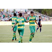 Tampa Bay Rowdies exchange congratulations vs. the Indy Eleven