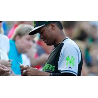 Abiatal Avelino of the Scranton-Wilkes/Barre RailRiders signs autographs