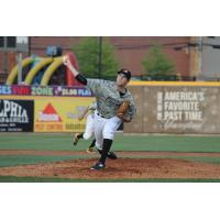 Alex McRae pitching for the West Virginia Power