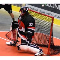 Goalie Charles Claxton with the Nanaimo Timbermen