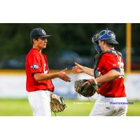Closer Tyler Yoshihara (left) and catcher Hayden Jaco of the Victoria HarbourCats