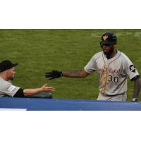 David Washington receives a high five from a Long Island Ducks teammate