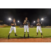 West Virginia Black Bears CF Travis Swaggerty, P Cam Alldred and IF Mike Gretler