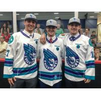 Rochester Knighthawks Jake Withers, Austin Shanks and Eric Fannell at the 2017 Draft