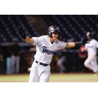 Diego Castillo of the Tampa Tarpons celebrates his game-winning hit