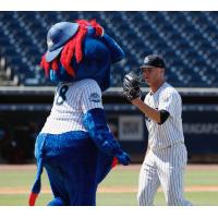 Tampa Tarpons mascot Blue and pitcher Hobie Harris