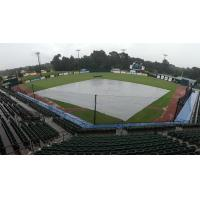 The tarp on Hank Aaron Stadium, home of the Mobile BayBears