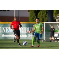 Sounders FC 2 midfielder Azriel Gonzalez with possession