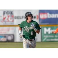 Cole Carder of the Medford Rogues runs the bases