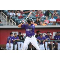 Josh Fuentes of the Albuquerque Isotopes at bat