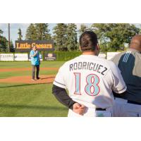 St. Cloud Rox manager Augie Rodriguez during the national anthem