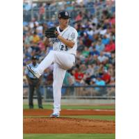 Biloxi Shuckers pitcher Zack Brown on the mound