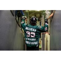 Cam Milligan enters the field for the Whitby Steelhawks