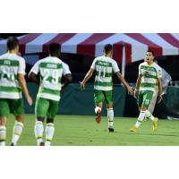 Leo Fernandes (11) congratulates Sebastian Guenzatti in the Tampa Bay Rowdies victory