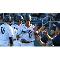 Everett AquaSox 1B Nick Rodriguez gives high fives