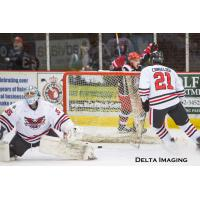 Dalton Jay of the Port Huron Prowlers celebrates a goal against the Carolina Thunderbirds