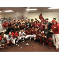 Memphis Redbirds celebrate PCL Championship Series berth in the locker room