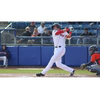 Salem Red Sox third baseman Bobby Dalbec takes a big swing