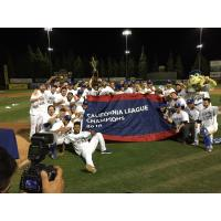The Rancho Cucamonga Quakes pose after winning the California League championship