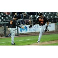 Daniel Fields rounds the bases for the Long Island Ducks