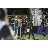 Sacramento Republic FC celebrates a goal with the fans
