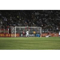 Sacramento Republic FC forward Villyan Bijev in front of the Portland Timbers 2 net