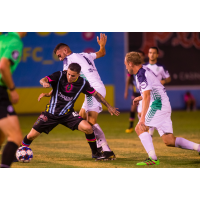 Las Vegas Lights FC's Raul Mendiola works through traffic against OKC Energy FC