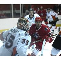 Miles Liberati of the Allen Americans eye the Kansas City Mavericks