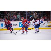 Eli Zummack's rushes up the ice for the Spokane Chiefs